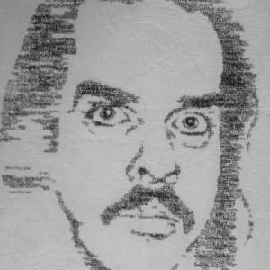 Portret Nick Cave - acryl en papier op canvas