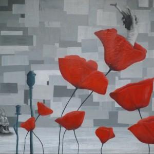 Schilderij  80 x 60 cm - kranten - acryl- canvas